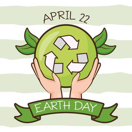 Manos con reciclar emblema ilustración de vector de tarjeta del día de la tierra