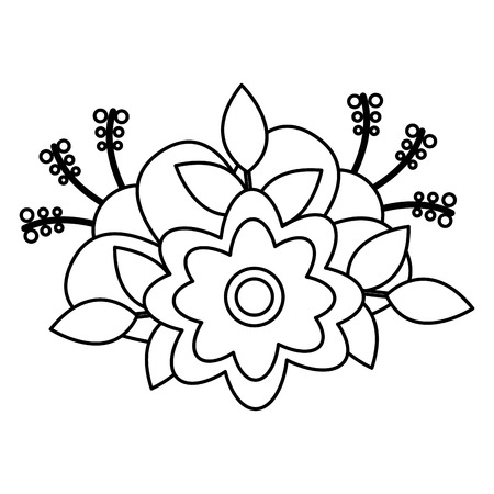 flower floral decoration on white background vector illustration
