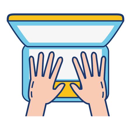 hands typing computer online banking vector illustration