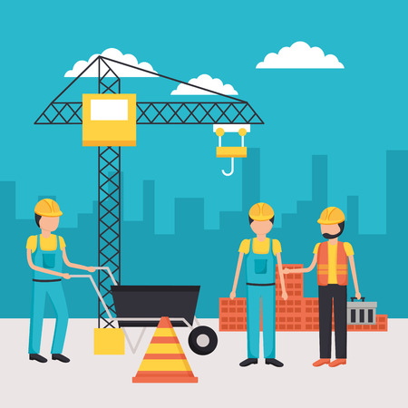 workers construction wheelbarrow bricks crane building vector illustration