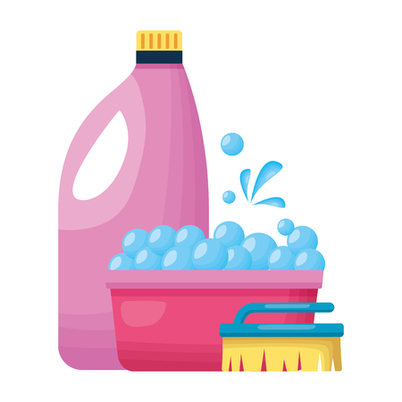 brush bucket and liquid soap spring cleaning tool vector illustration