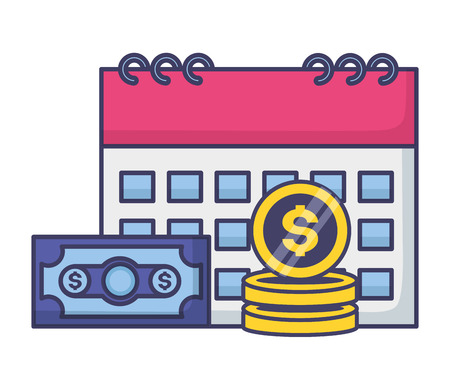 calendar money banknote coins tax payment vector illustration Illustration