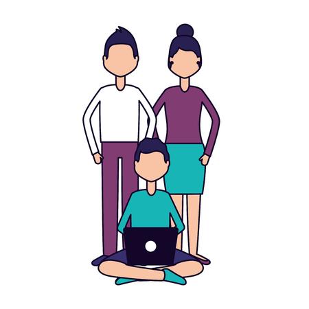 man using laptop user social media vector illustration vector illustration