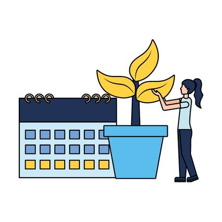 woman calendar plant in pot earth day vector illustration Stock Illustratie