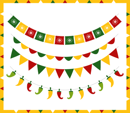 garland chili peppers decoration mexico cinco de mayo vector illustration Banque d'images - 122575575