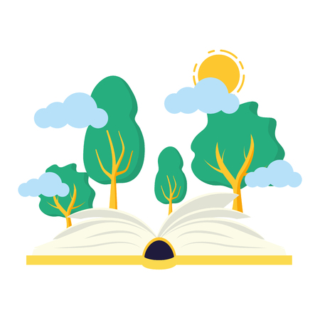 open book forest trees - world book day vector illustration