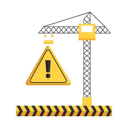 crane construction warning tape caution equipment vector illustration