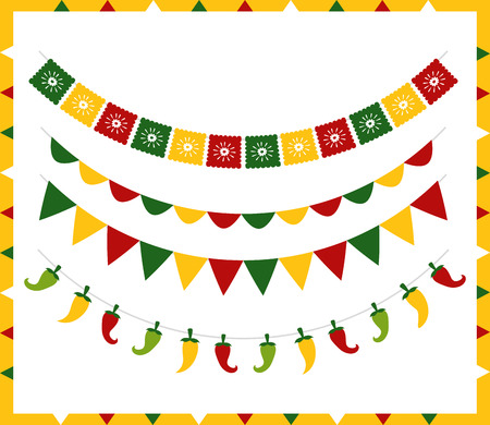 garland chili peppers decoration mexico cinco de mayo vector illustration Illustration