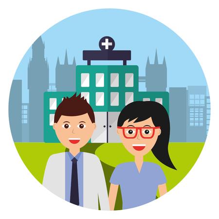 doctors staff medicine clinic urban vector illustration