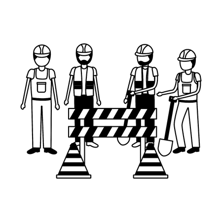 workers construction equipment shovel barrier cone vector illustration