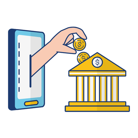 hand pushing coin bank online banking vector illustration
