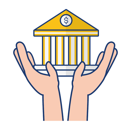 hands holding bank saving online banking vector illustration Illustration