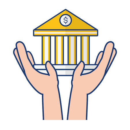 hands holding bank saving online banking vector illustration 일러스트