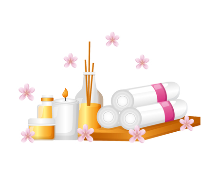 towels candle lotion aromatherapy sticks flowers spa treatment therapy vector illustration
