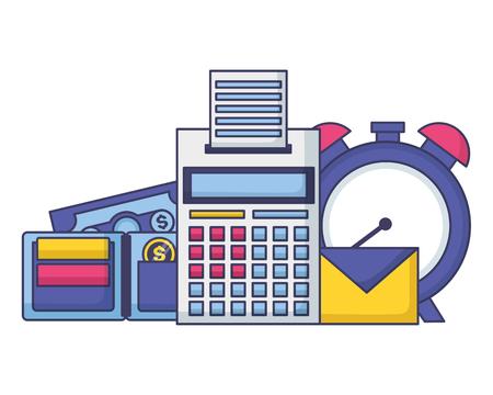 clock calculator wallet money tax time payment vector illustration Standard-Bild - 122575618