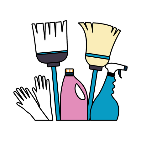 Gants de vadrouille à balai spray détergent outils de nettoyage de printemps vector illustration