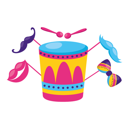 drum with lips mustache sticks vector illustration design