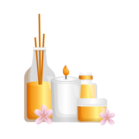 cosmetics skin care candle flowers spa treatment vector illustration Foto de archivo - 122575632