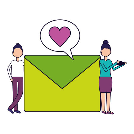 man and woman with mobile message love social media vector illustration