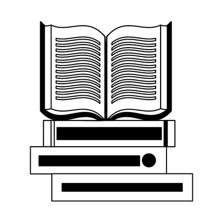 open book on books stack vector illustration