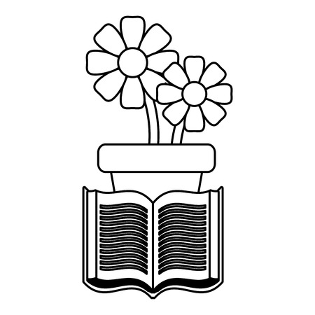 potted flowers and book on white background vector illustration