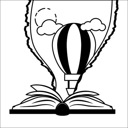 Papier déchiré de ciel de montgolfière de manuel - illustration vectorielle de la journée mondiale du livre
