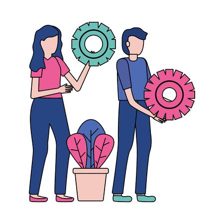 business people gears cooperation vector illustration design Çizim
