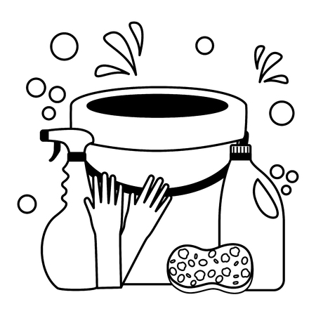 bucket sponge gloves spray liquid soap spring cleaning tool vector illustration Foto de archivo - 122575684