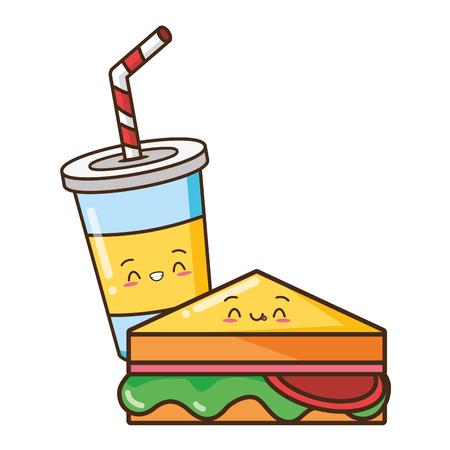 kawaii sandwich juice fast food vector illustration 向量圖像