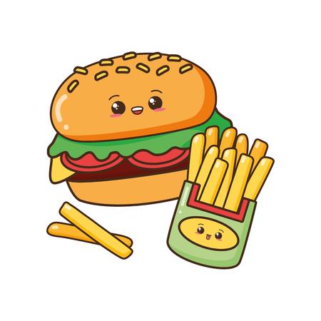kawaii cartoon burger and french fries vector illustration Illustration