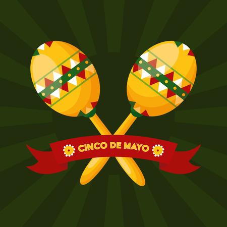 music maracas mexico cinco de mayo vector illustration