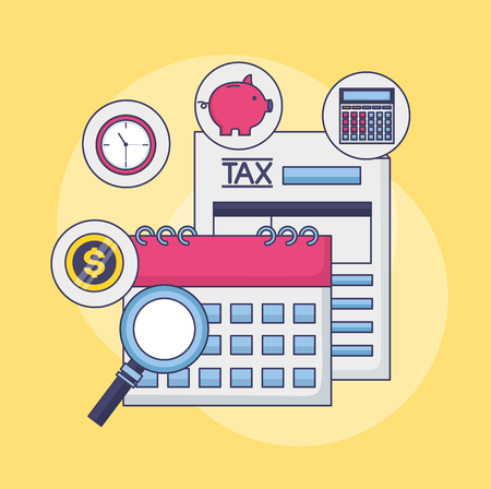 tax payment document calendar clock money magnifier vector illustration