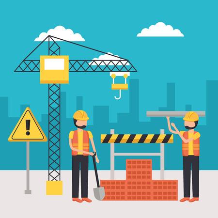 workers construction shovel wall brick crane equipment vector illustration
