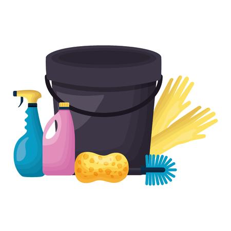 bucket sponge gloves spray liquid soap spring cleaning tool vector illustration