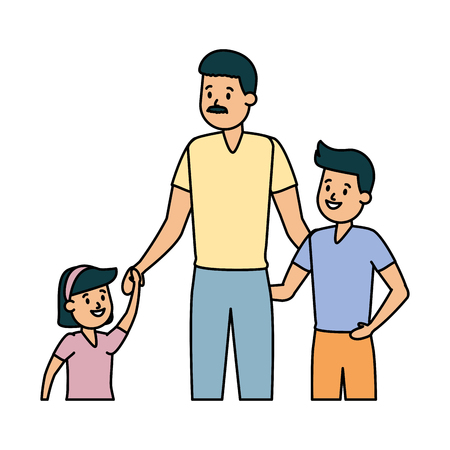 father with son and daughter vector illustration