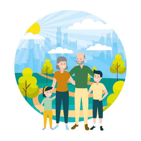 grandparents and grandkids family outdoors vector illustration Stok Fotoğraf - 122575711