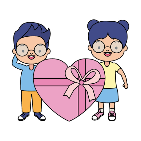 boy and girl gift heart surprise vector illustration Çizim