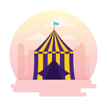 carnival tent circus amusement city vector illustration design 스톡 콘텐츠 - 122575723