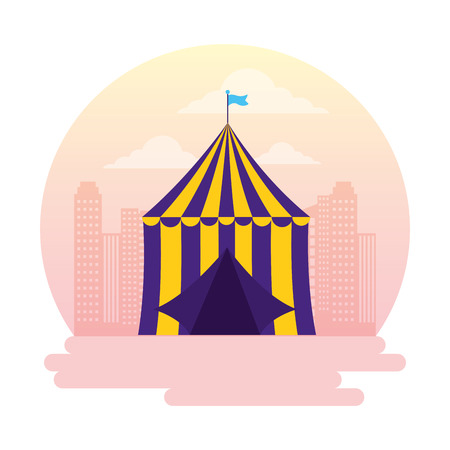 carnival tent circus amusement city vector illustration design