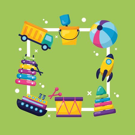 kids toys frame truck boat pyramid rocket ball drum vector illustration 向量圖像
