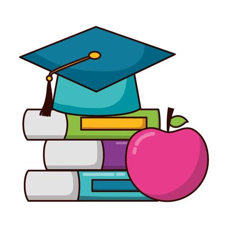 school graduation hat books apple teachers day vector illustration Vector Illustration