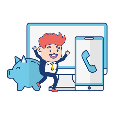 businessman mobile computer piggy bank online payment vector illustration Çizim