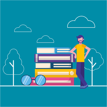 man world book day stacked books and eyeglasses vector illustration Иллюстрация
