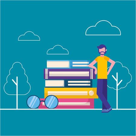 uomo giornata mondiale del libro libri impilati e occhiali illustrazione vettoriale