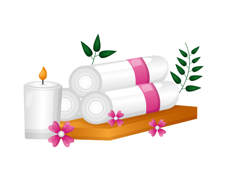 towels candle flowers spa treatment therapy vector illustration Foto de archivo - 122575781