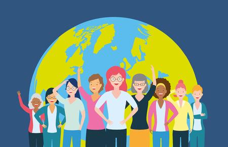 diversity women people world vector illustration design Illustration