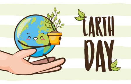 hands with planet character plant earth day vector illustration