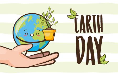 mains avec le caractère de la planète plante jour de la terre vector illustration Vecteurs