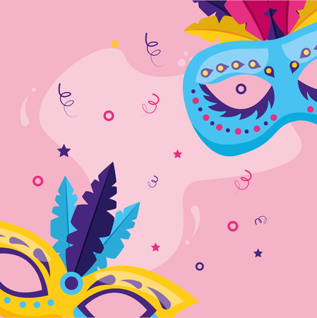 masks with feather decoration carnival vector illustration