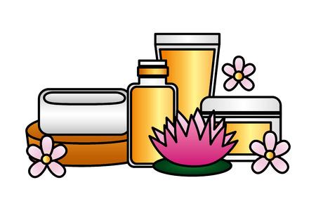Flaschen Produkte Hautpflege Seife Spa Behandlung Therapie Vektor-Illustration Vektorgrafik